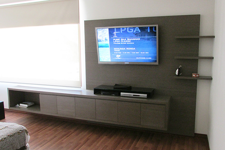 Mueble televisi n ferrari muebles y espacios for Muebles de pared para dormitorio